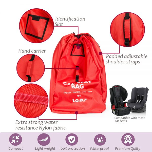 car seat travel bag info graphics